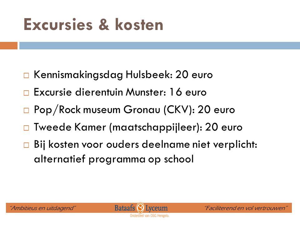 Excursies & kosten Kennismakingsdag Hulsbeek: 20 euro