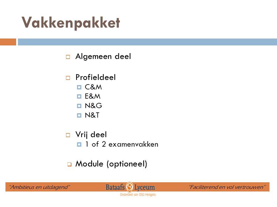 Vakkenpakket Module (optioneel) Algemeen deel Profieldeel Vrij deel