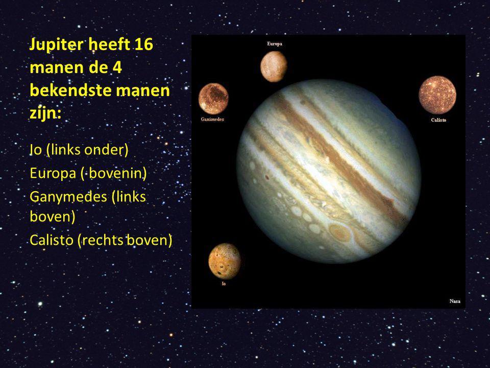 Jupiter heeft 16 manen de 4 bekendste manen zijn:
