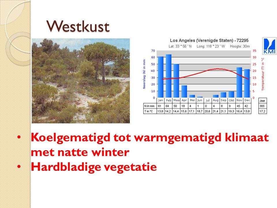 Westkust Koelgematigd tot warmgematigd klimaat met natte winter