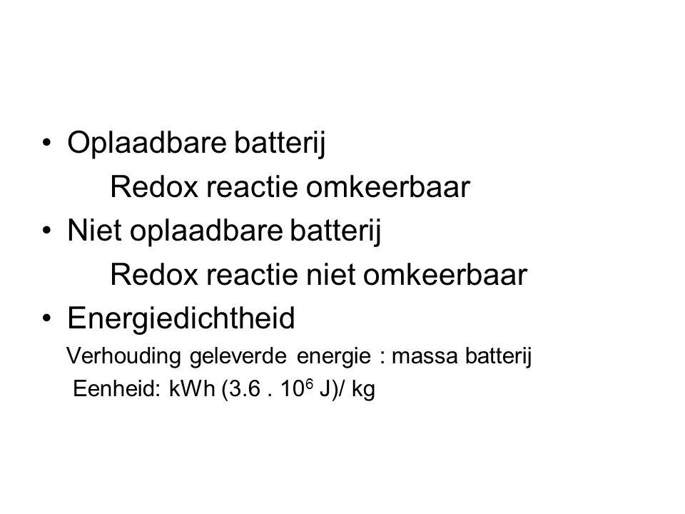 Redox reactie omkeerbaar Niet oplaadbare batterij