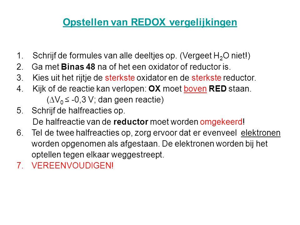 Opstellen van REDOX vergelijkingen
