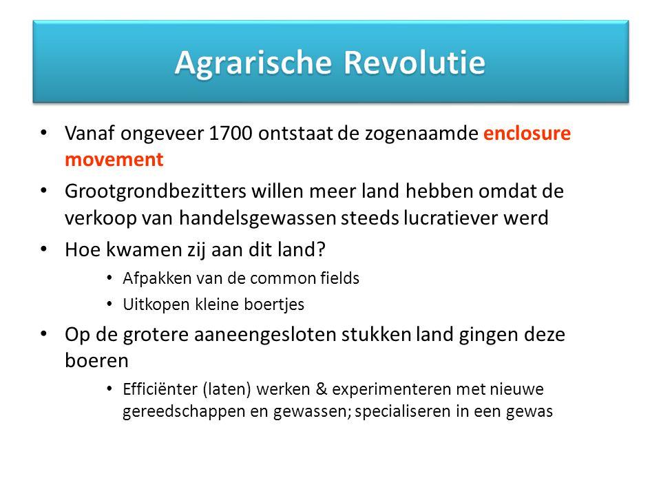Agrarische Revolutie Vanaf ongeveer 1700 ontstaat de zogenaamde enclosure movement.