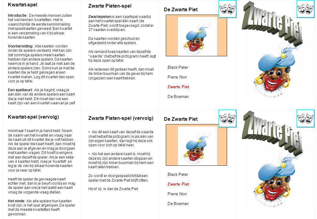 Zwarte Piet Zwarte Piet Kwartet-spel Zwarte Pieten-spel De Zwarte Piet