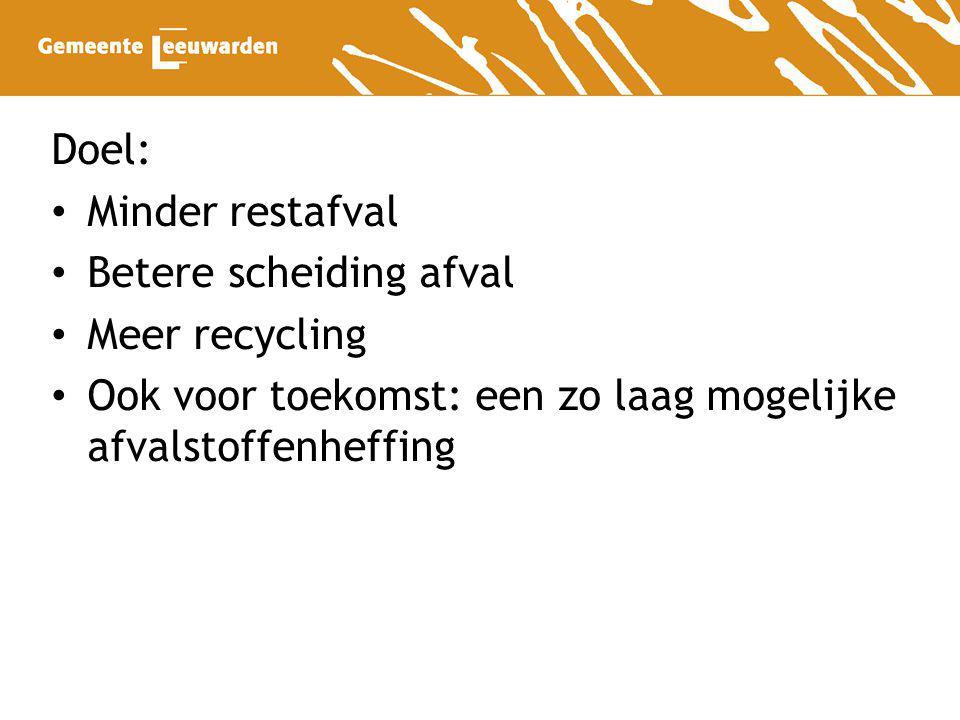 Doel: Minder restafval. Betere scheiding afval. Meer recycling.