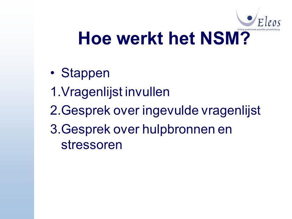 Hoe werkt het NSM Stappen 1.Vragenlijst invullen