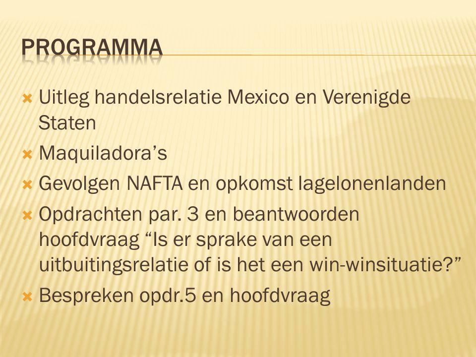 Programma Uitleg handelsrelatie Mexico en Verenigde Staten