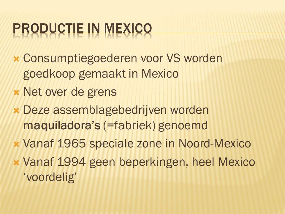 Productie in Mexico Consumptiegoederen voor VS worden goedkoop gemaakt in Mexico. Net over de grens.