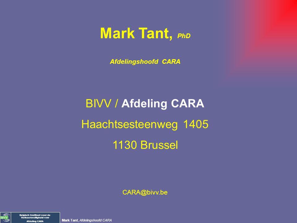 Mark Tant, PhD BIVV / Afdeling CARA Haachtsesteenweg 1405 1130 Brussel