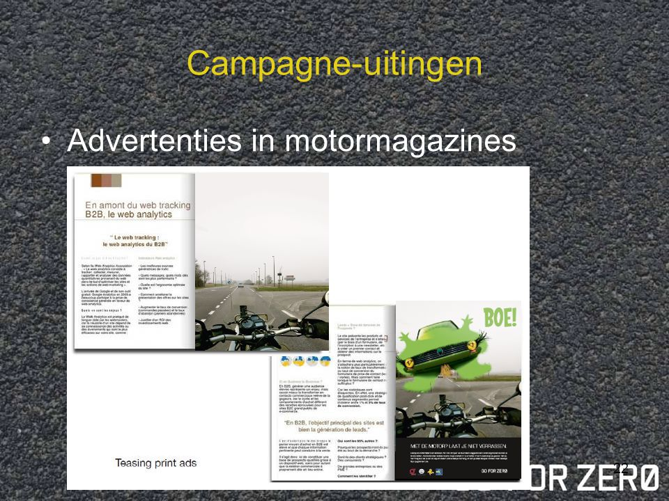Campagne-uitingen Advertenties in motormagazines
