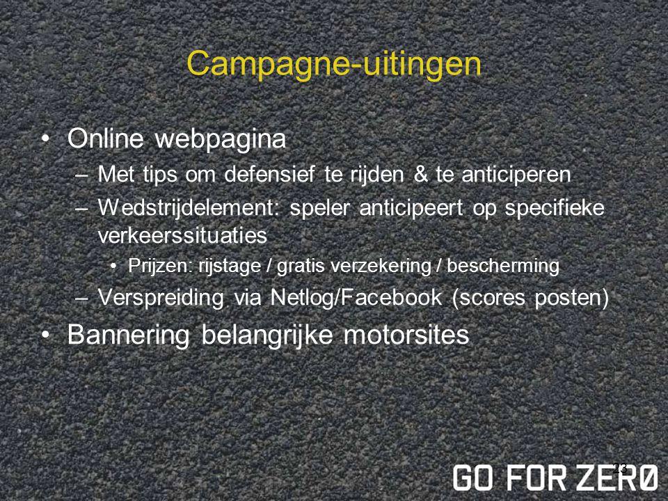 Campagne-uitingen Online webpagina Bannering belangrijke motorsites