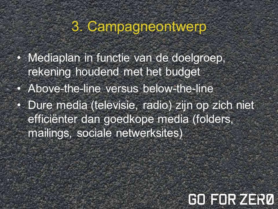 3. Campagneontwerp Mediaplan in functie van de doelgroep, rekening houdend met het budget. Above-the-line versus below-the-line.