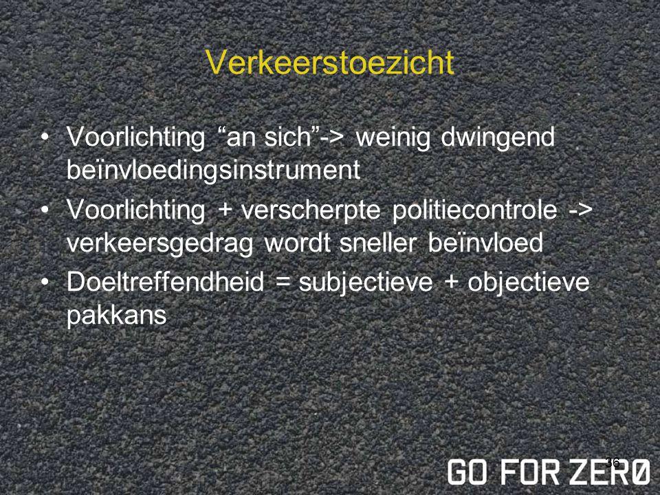 Verkeerstoezicht Voorlichting an sich -> weinig dwingend beïnvloedingsinstrument.