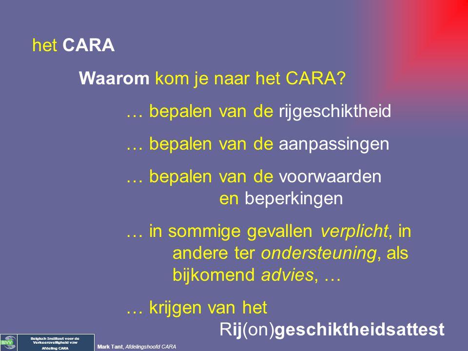 het CARA Waarom kom je naar het CARA … bepalen van de rijgeschiktheid. … bepalen van de aanpassingen.