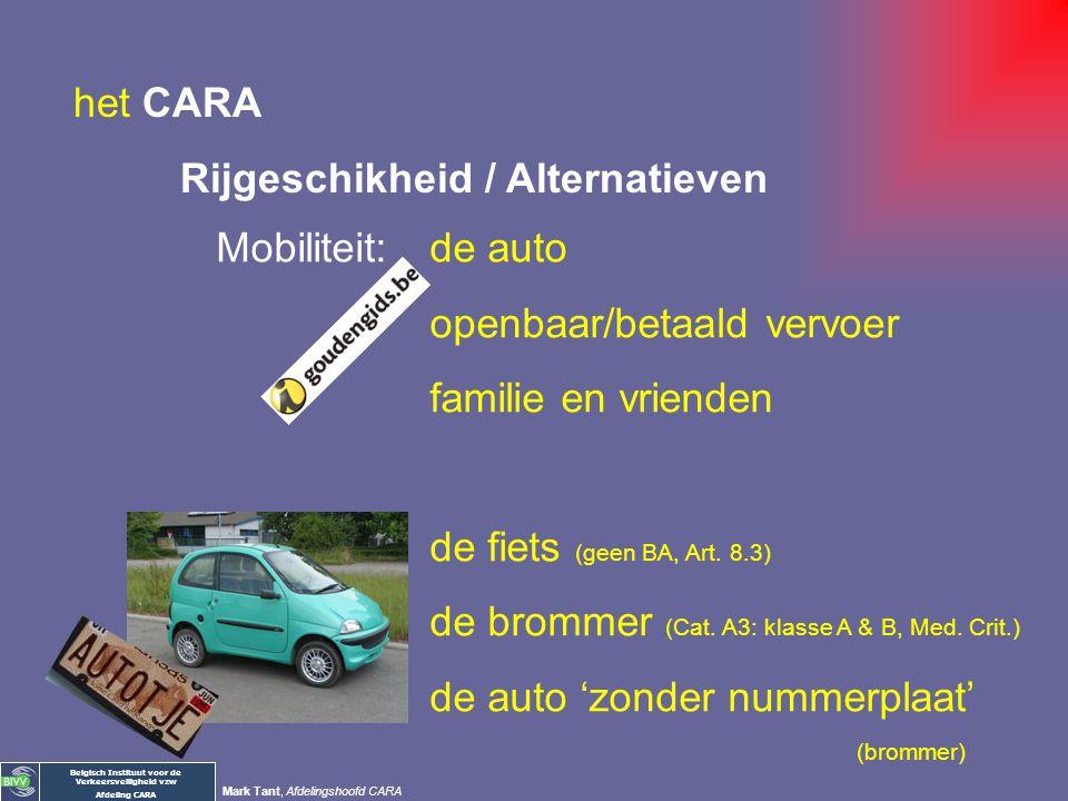 het CARA Rijgeschikheid / Alternatieven. Mobiliteit: de auto. openbaar/betaald vervoer. familie en vrienden.