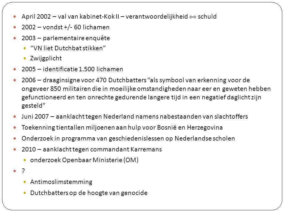 April 2002 – val van kabinet-Kok II – verantwoordelijkheid  schuld