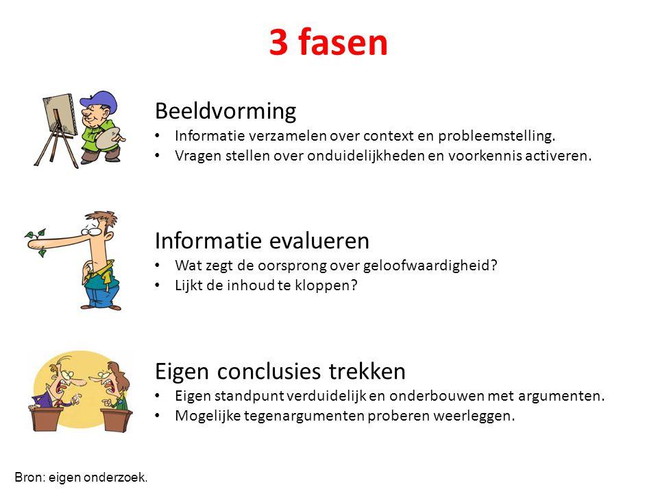 3 fasen Beeldvorming Informatie evalueren Eigen conclusies trekken