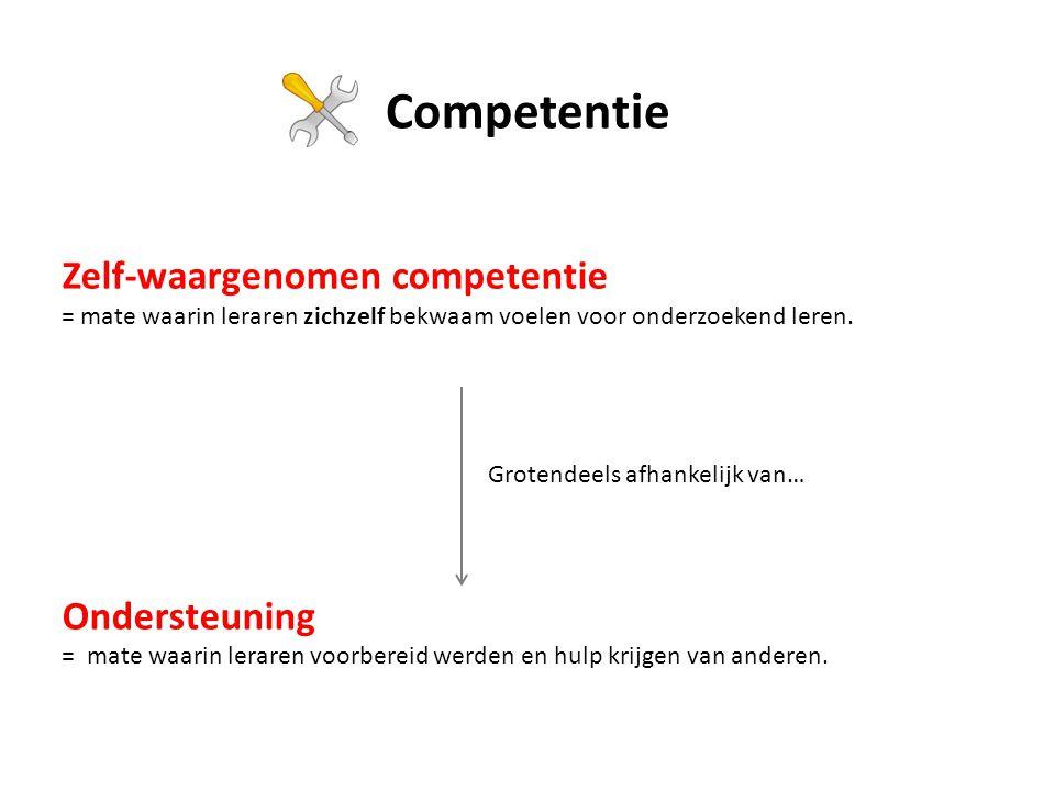 Competentie Zelf-waargenomen competentie Ondersteuning