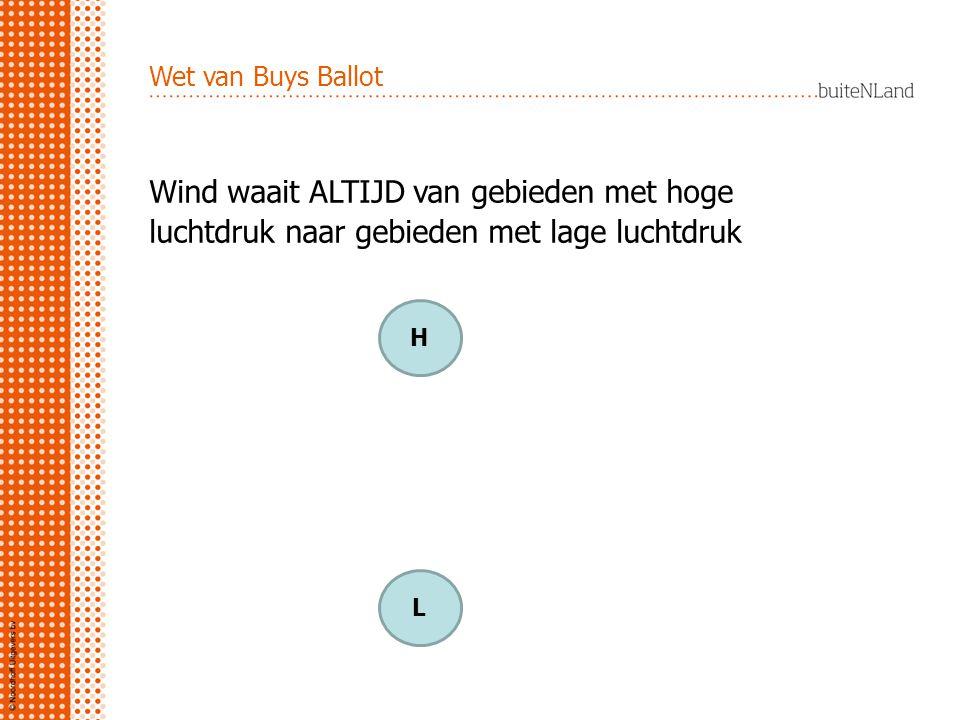Wet van Buys Ballot Wind waait ALTIJD van gebieden met hoge luchtdruk naar gebieden met lage luchtdruk.