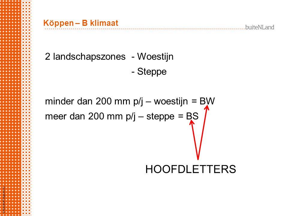 HOOFDLETTERS 2 landschapszones - Woestijn - Steppe