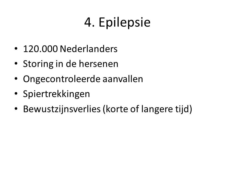 4. Epilepsie 120.000 Nederlanders Storing in de hersenen