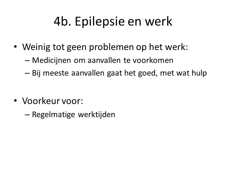 4b. Epilepsie en werk Weinig tot geen problemen op het werk: