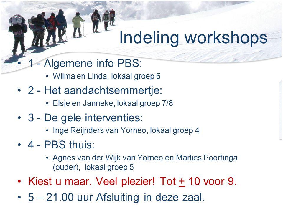 Indeling workshops 1 - Algemene info PBS: 2 - Het aandachtsemmertje: