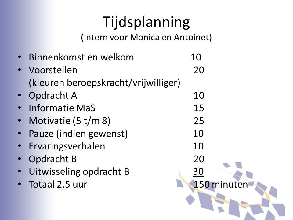 Tijdsplanning (intern voor Monica en Antoinet)