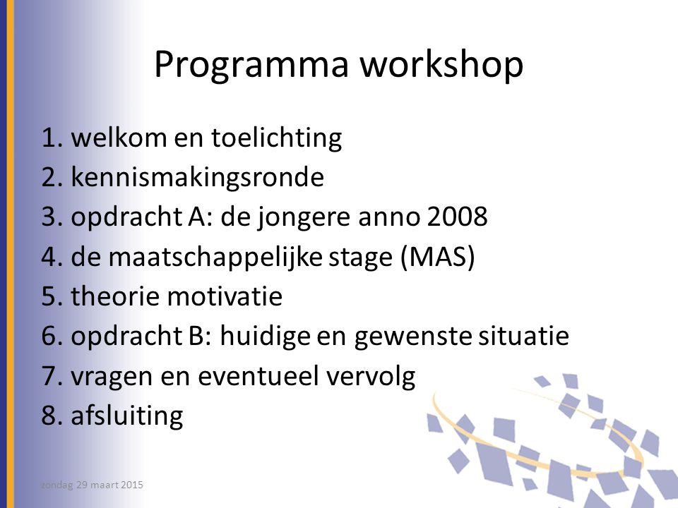 Programma workshop 1. welkom en toelichting 2. kennismakingsronde
