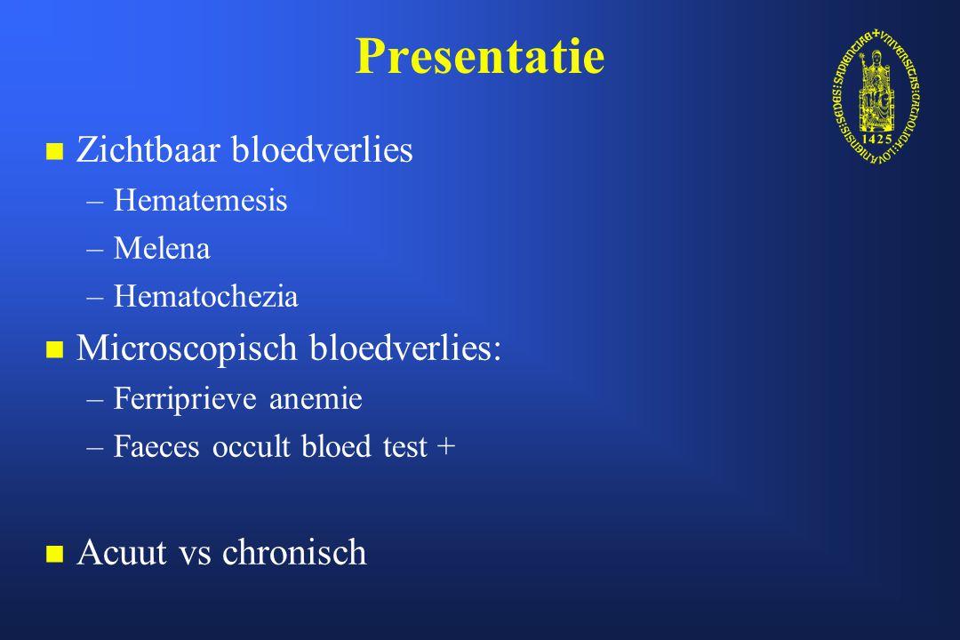 Presentatie Zichtbaar bloedverlies Microscopisch bloedverlies: