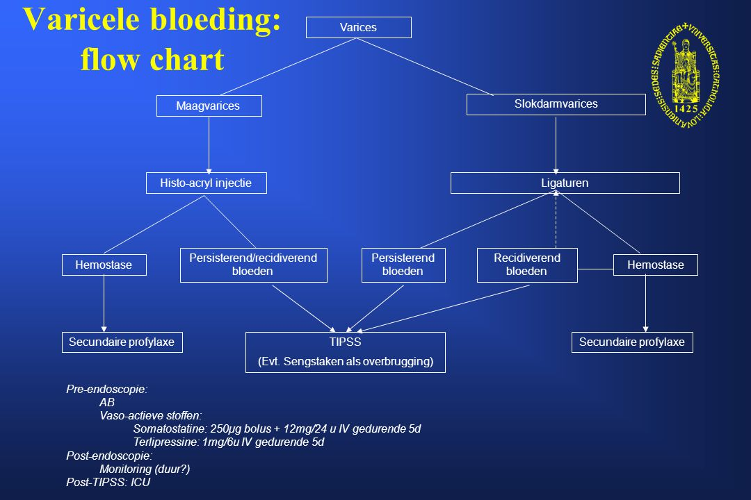Varicele bloeding: flow chart