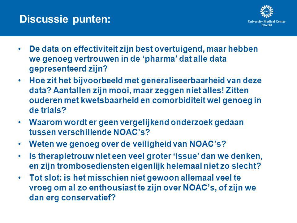 Discussie punten: De data on effectiviteit zijn best overtuigend, maar hebben we genoeg vertrouwen in de 'pharma' dat alle data gepresenteerd zijn