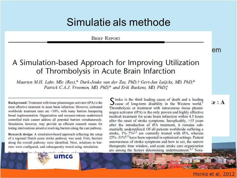 Simulatie als methode Alternatieve benadering onderbehandeling trombolyse. Gebruik simulatiemodel = hypothetische weergave van een systeem.