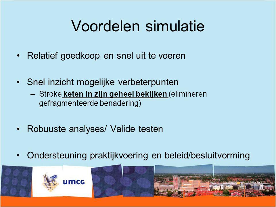 Voordelen simulatie Relatief goedkoop en snel uit te voeren