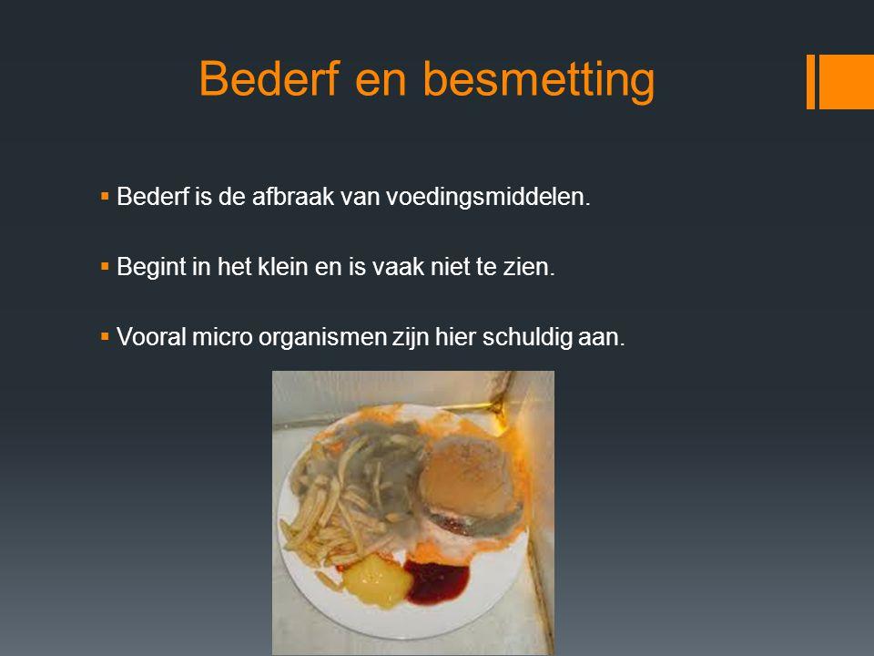 Bederf en besmetting Bederf is de afbraak van voedingsmiddelen.