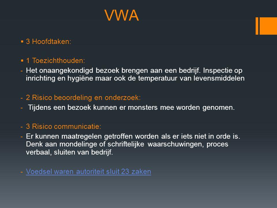 VWA 3 Hoofdtaken: 1 Toezichthouden: