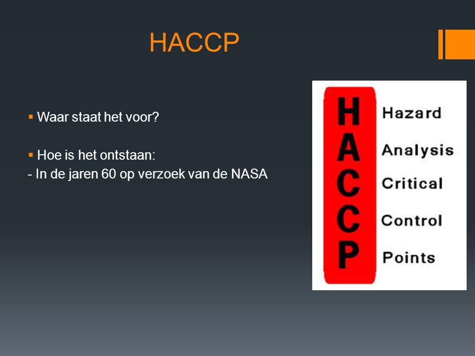 HACCP Waar staat het voor Hoe is het ontstaan: