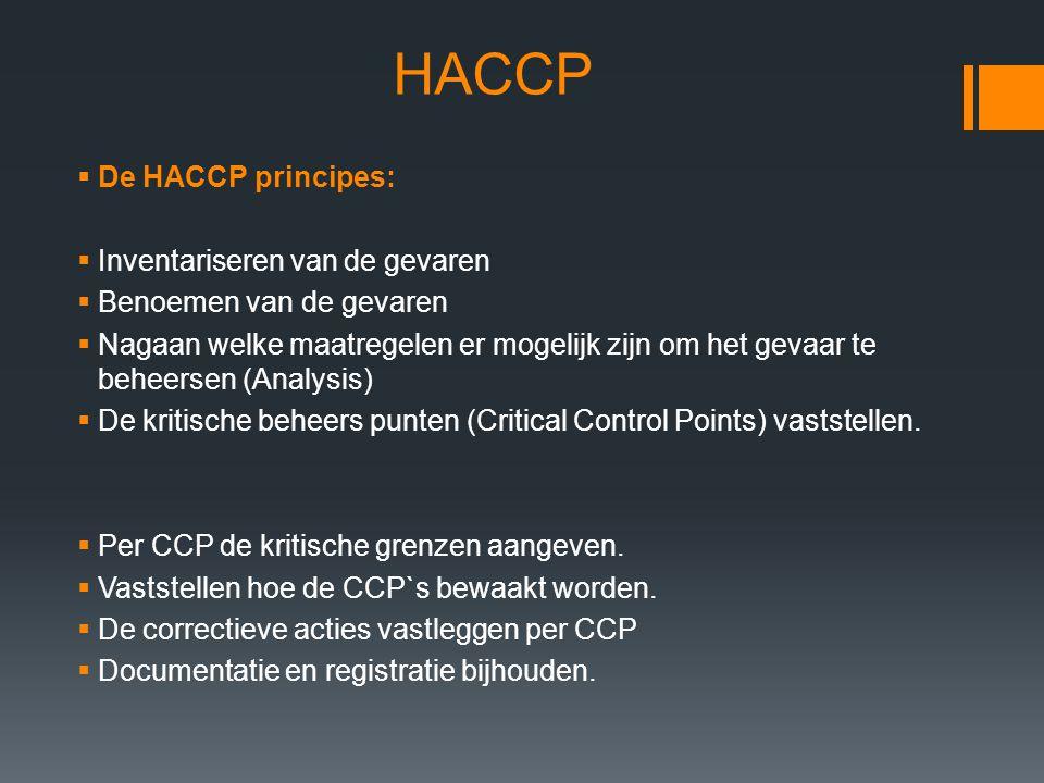 HACCP De HACCP principes: Inventariseren van de gevaren