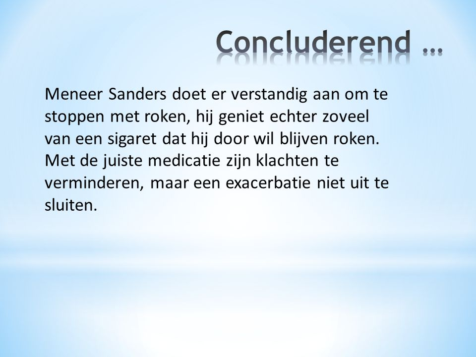 Concluderend …