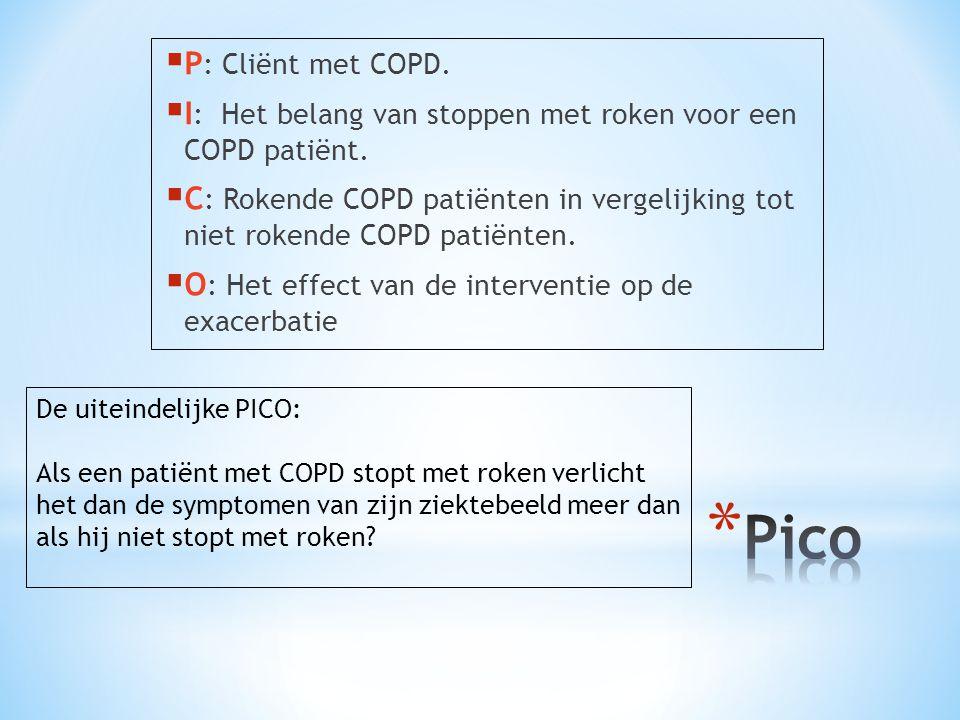 P: Cliënt met COPD. I: Het belang van stoppen met roken voor een COPD patiënt.
