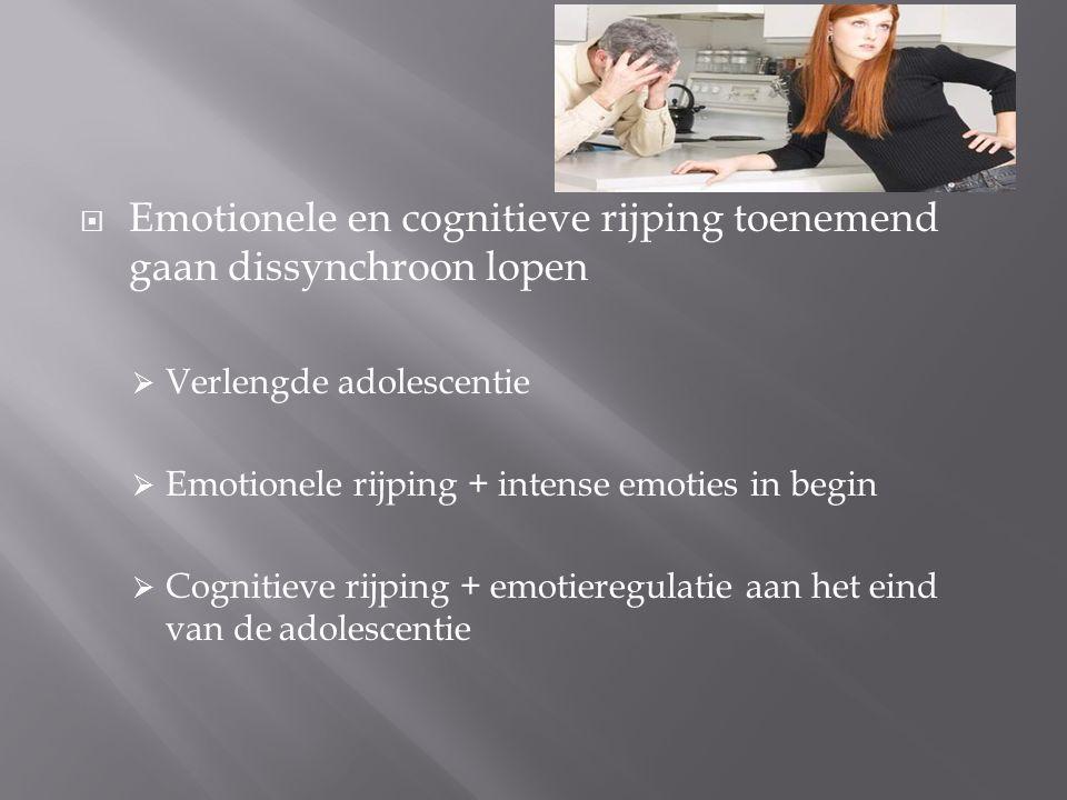 Emotionele en cognitieve rijping toenemend gaan dissynchroon lopen