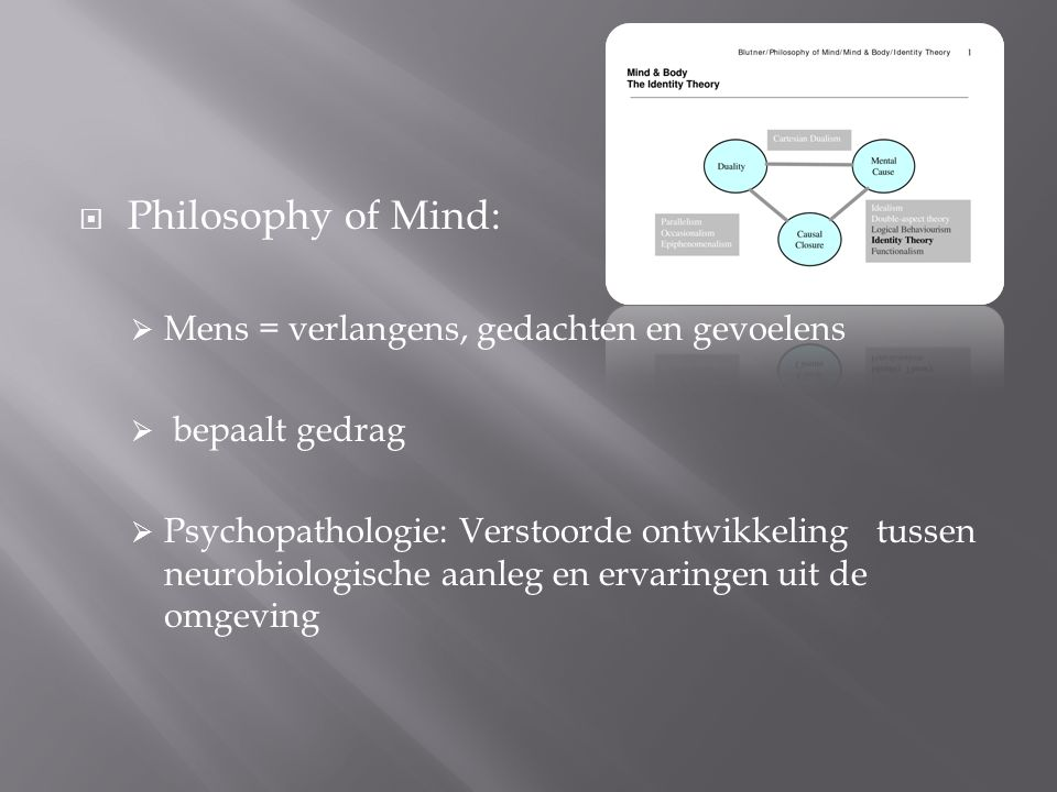 Philosophy of Mind: Mens = verlangens, gedachten en gevoelens