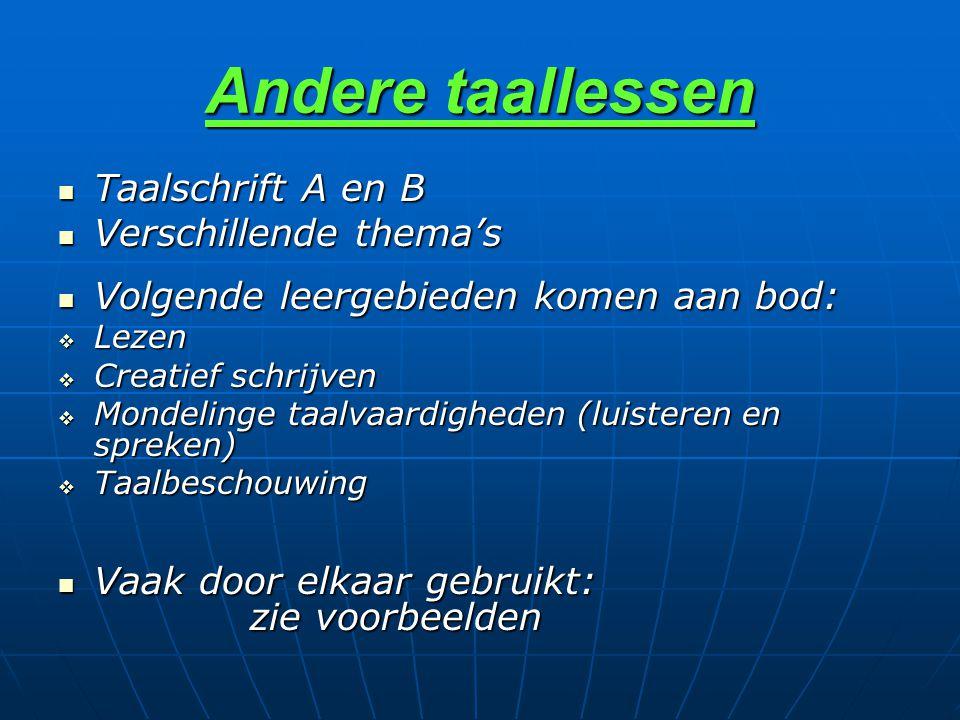Andere taallessen Taalschrift A en B Verschillende thema's