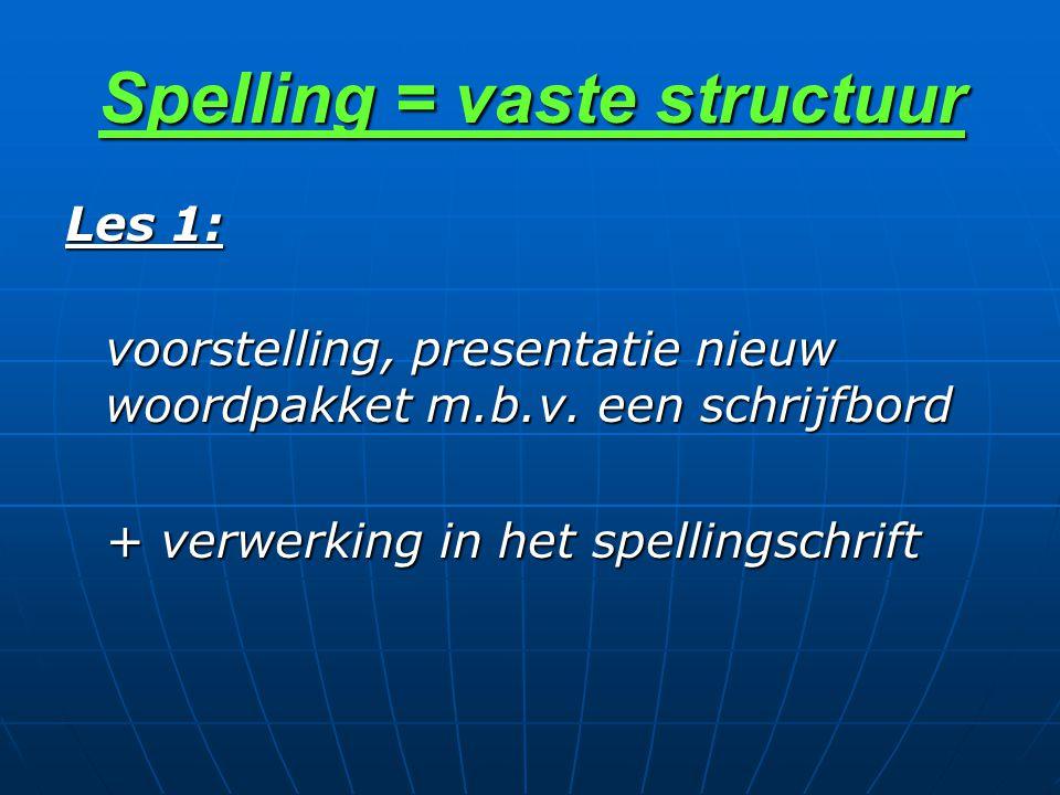 Spelling = vaste structuur