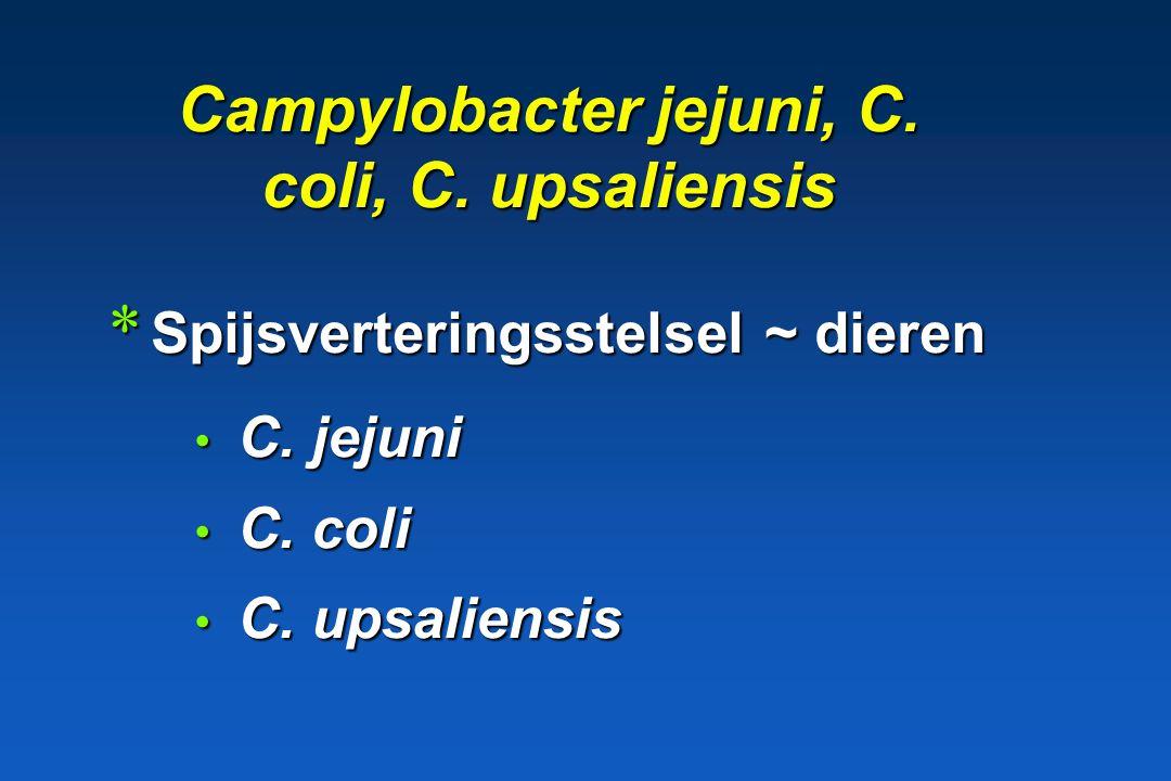 Campylobacter jejuni, C. coli, C. upsaliensis