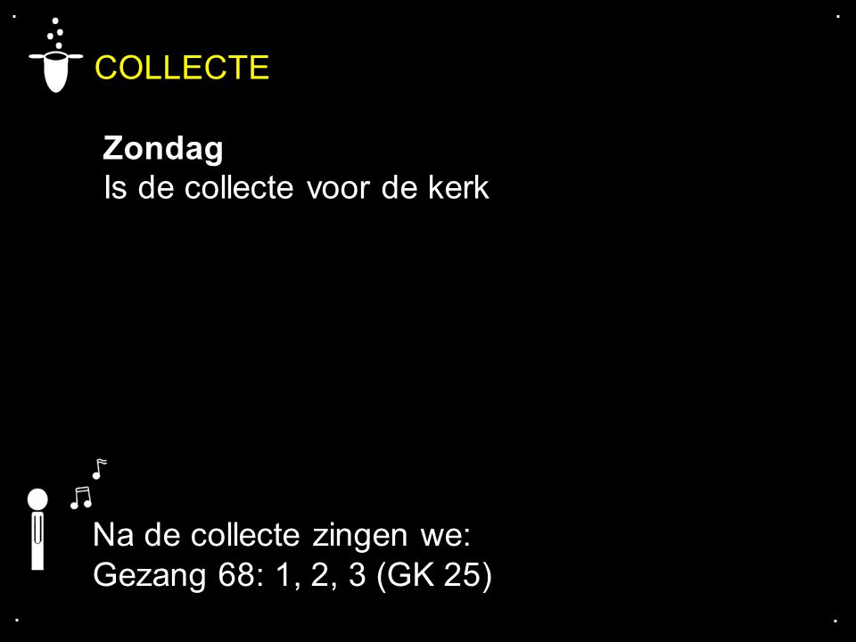 COLLECTE Zondag Is de collecte voor de kerk Na de collecte zingen we: