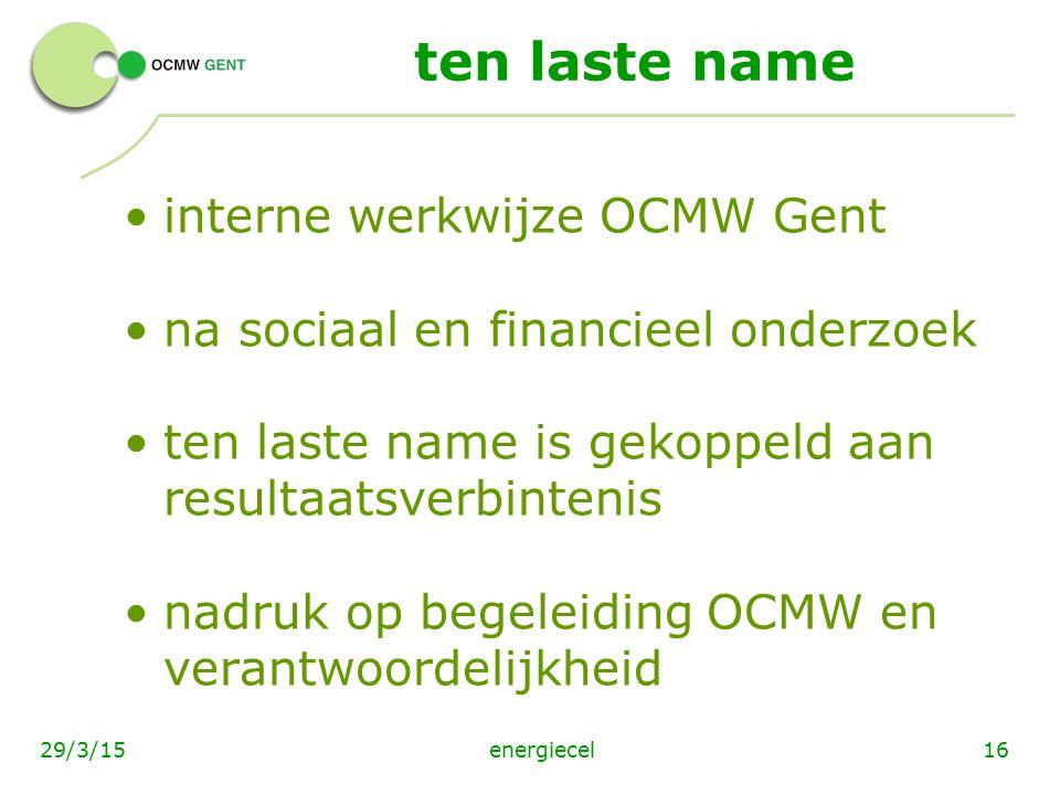 ten laste name interne werkwijze OCMW Gent