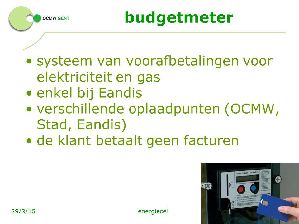 budgetmeter systeem van voorafbetalingen voor elektriciteit en gas