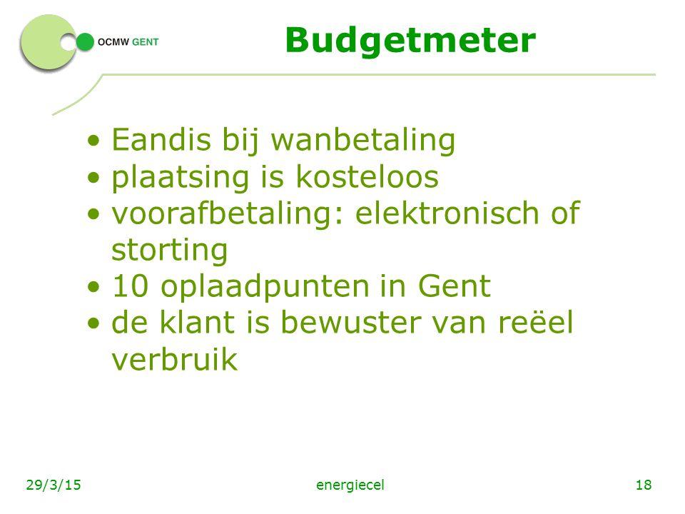 Budgetmeter Eandis bij wanbetaling plaatsing is kosteloos