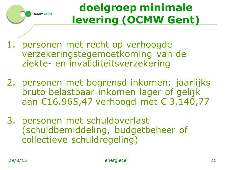 doelgroep minimale levering (OCMW Gent)